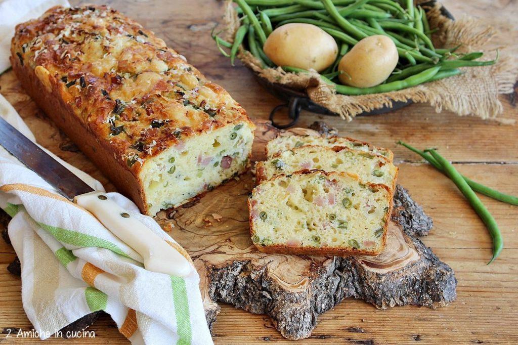 Plumcake con fagiolini, patate, formaggi e salumi