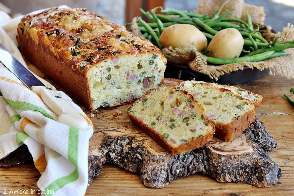 Plumcake salato fagiolini e patate con cotto e formaggio