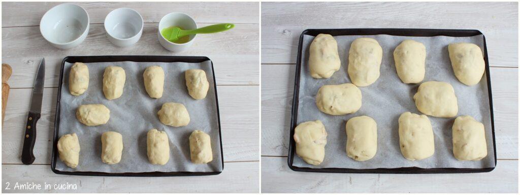 Panini alle mele, prima e dopo la lievitazione