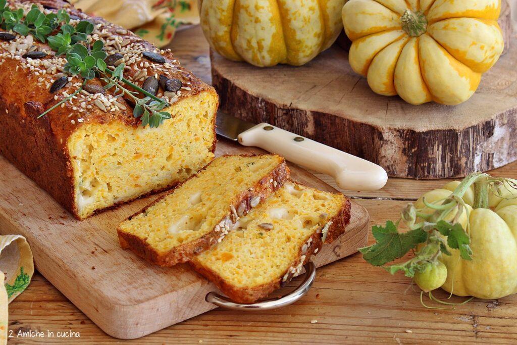 Plumcake con zucca delica formaggi e semi