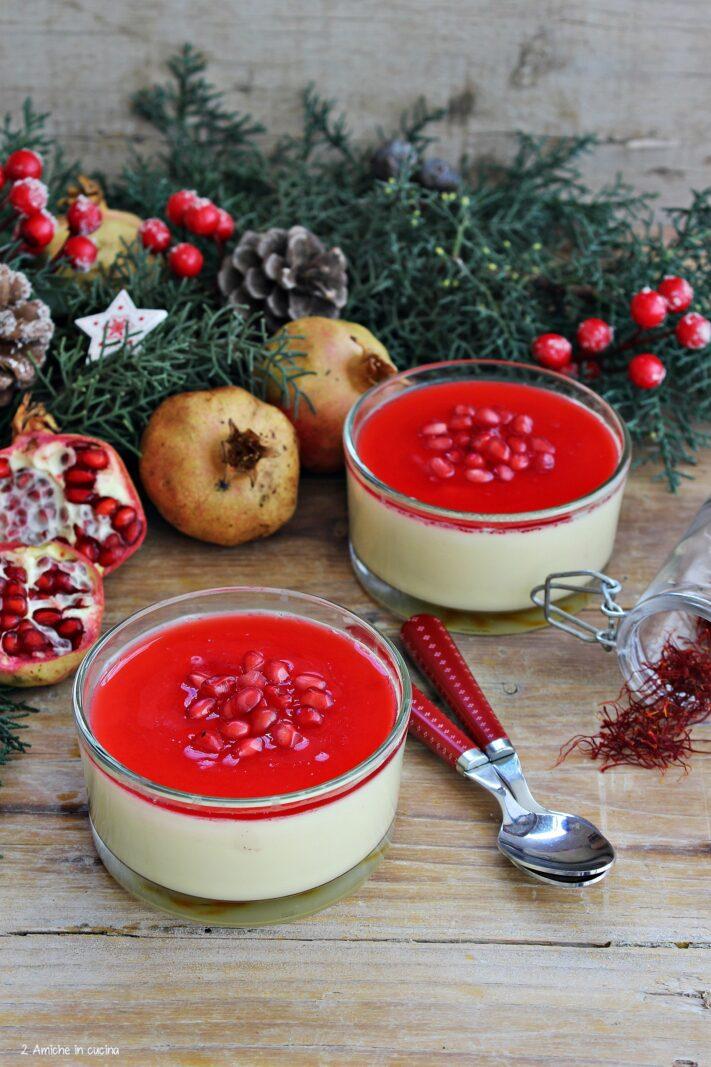 Panna cotta zafferano e melagrana, ricetta per Capodanno