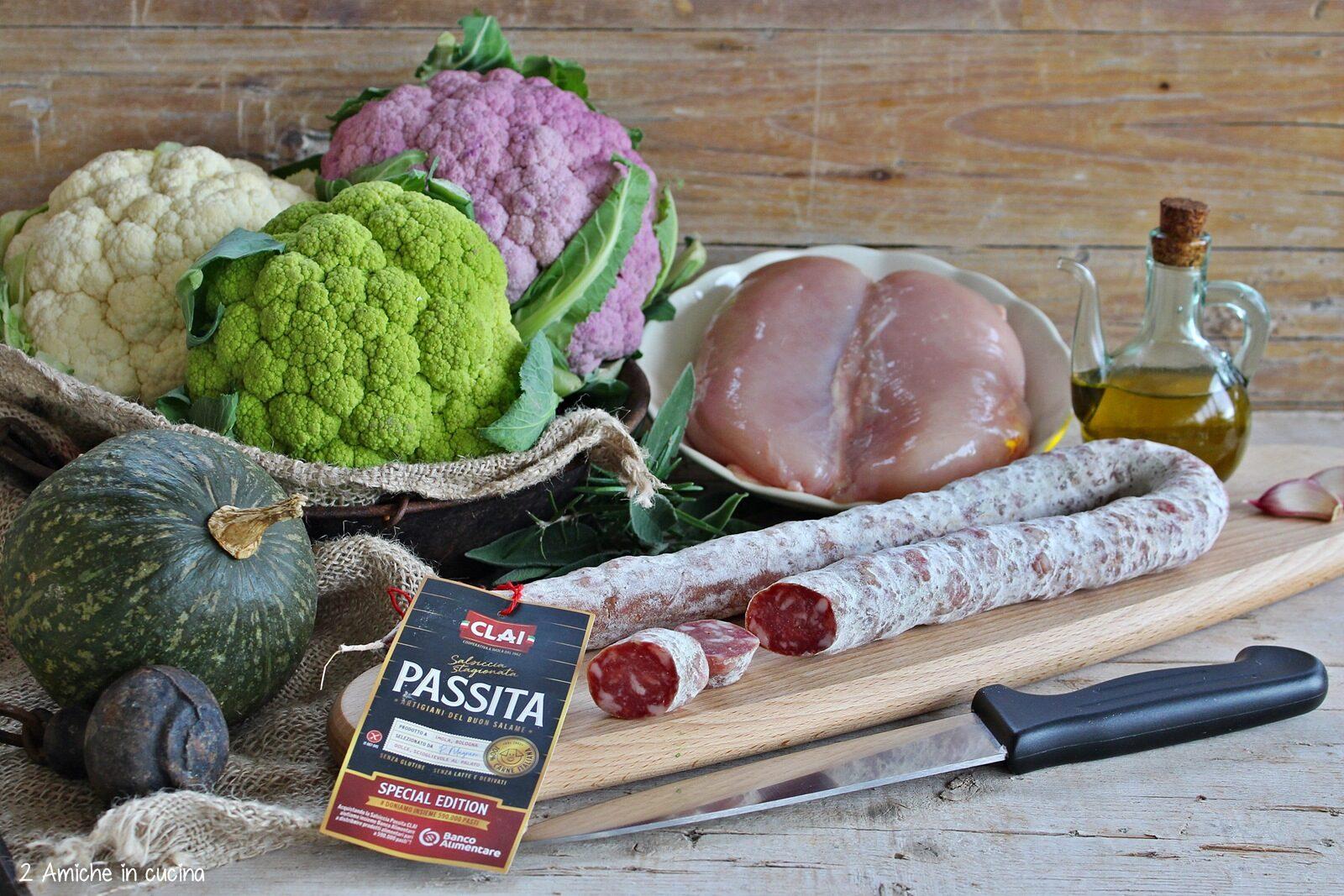 Salsiccia Passita CLAI, verdure invernali e petto di pollo
