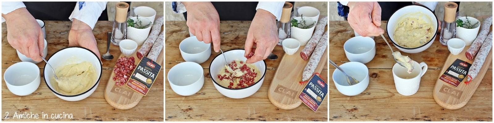 Foto passo passo per preparare la mug cake salata