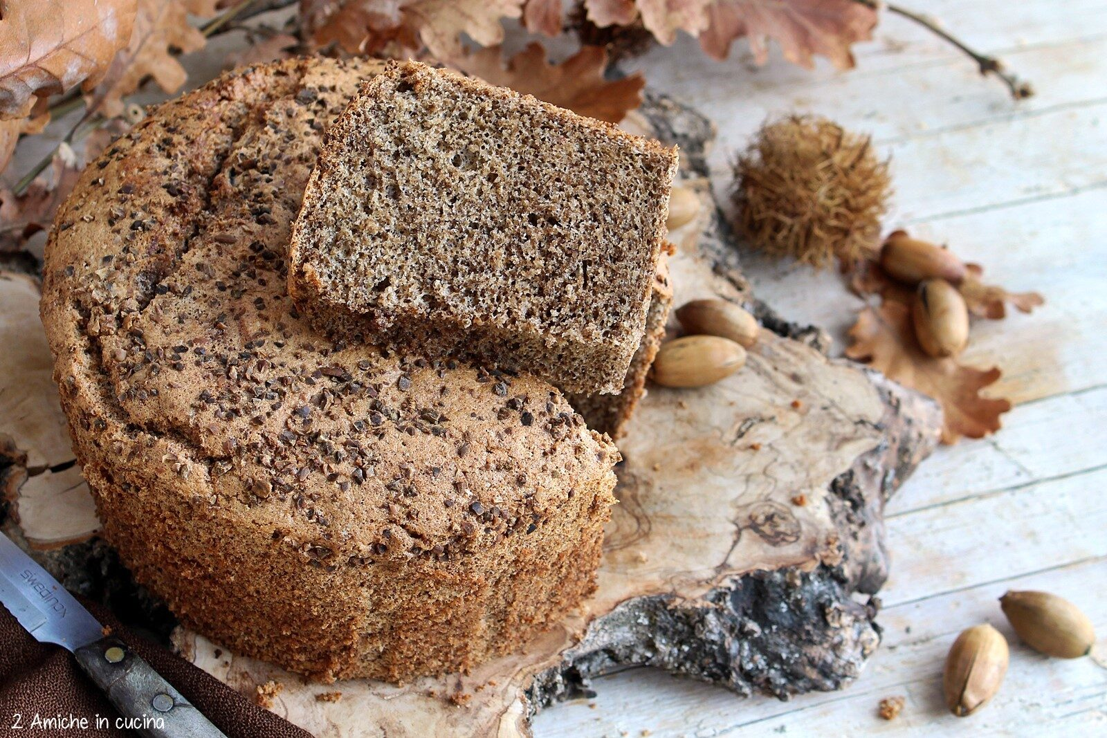 Fetta di torta sofficissima con farina di ghiande