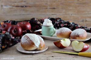 Maritozzo alle mele, farcito con panna vegetale, ricetta adatta agli intolleranti al lattosio