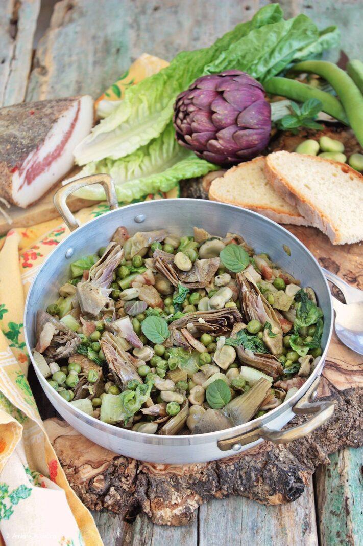 Padellata di verdure primaverili e guanciale