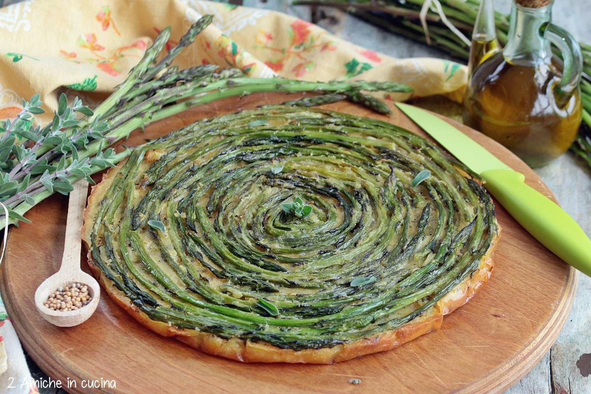 Farinata di ceci vegan con asparagi di bosco