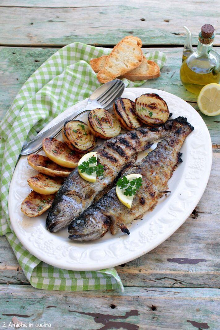 Trote arrosto , con patate rosse di Colfiorito e cipolle di Cannara