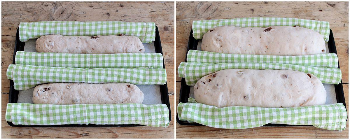 filoncini di pan mostato in lievitazione